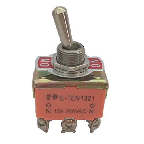 oshhni Interruptor de Palanca, DPDT Encendido-encendido 2 Posiciones 6 Pines, CA 250 V 15 a