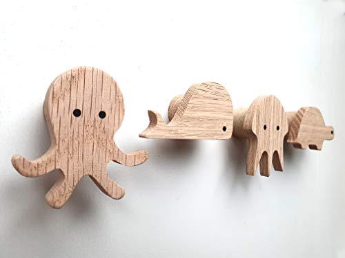 PLT Wandhaken für Kinder aus Holz, Tiere, Kinderzimmer, Schildkröte, Wal, Oktopus, Qualle, Deko, Kleiderhaken, Garderobenhaken, Garderobe, Scandi-Style, Geschenkidee