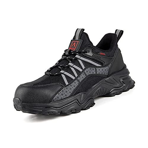 Aingrirn Zapatos de Seguridad Hombre Mujer, Punta de Acero Zapatos Ligeras Respirable Calzado de Industrial y Deportiva Cómodas (Color : Black, Size : 43 EU)
