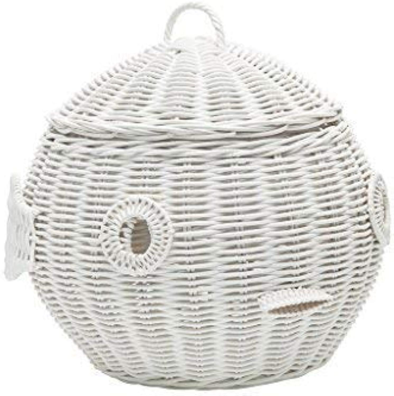 Kouboo 1060102 Rattan Puffer Fish Storage Basket, White