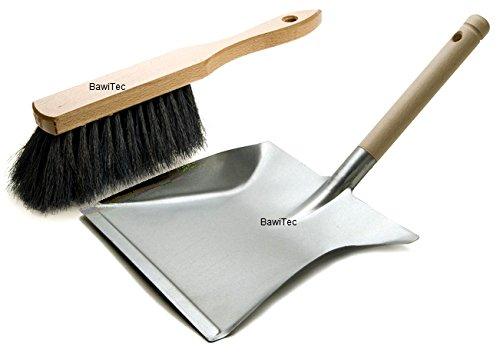 BawiTec Kehrgarnitur weich schwarz Kehrschaufelgarnitur Set und Industrie-Handfeger Metall-Kehrschaufel Kehrset Industriehandfeger