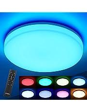 Oeegoo RGB led-plafondlamp, dimbaar, 36 W, 3600 lm, smart led-plafondlamp, dimbaar met afstandsbediening, kleurverandering, IP54 ledlamp voor kinderkamer, woonkamer, slaapkamer, keuken, kantoor, badkamer