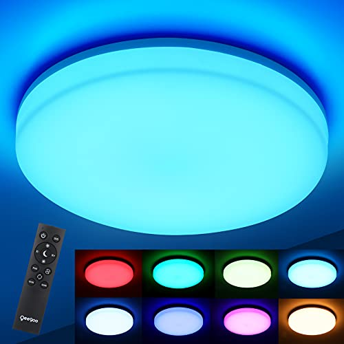Oeegoo Lámpara de techo RGB regulable 36W 3600LM, Plafón techo LED ajustable con mando a distancia, cambio de color, IP54 luz impermeable para Habitación Infantil Salón Baño Dormitorio Cocina, φ33
