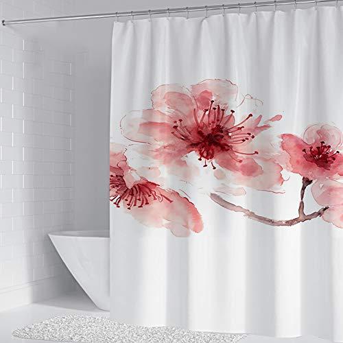 GXQQ Duschvorhang, Pfirsich-Stoff, einzigartig, elegant, rosa, florales Aquarell, modernes Muster, Badezimmervorhang-Set mit 12 Metallhaken, Badezimmerdekoration, 152,4 x 182,9 cm