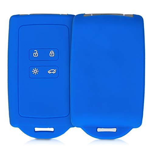 kwmobile Funda de Silicona Compatible con Renault Llave de Coche Smart Key de 4 Botones (Solo Keyless Go) - Carcasa Protectora para Llavero - Case Mando de Auto Azul