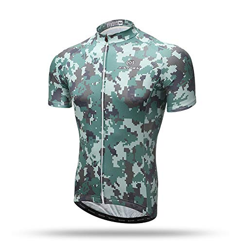 Unkoo Top Best Camouflage Herren Radtrikot Tops Radsporthemden Kurze Fahrradbekleidung Full Zip Fahrradjacke mit Taschen Jersey-Ärmel Mountain Shirt MTB-Top-Reißverschluss