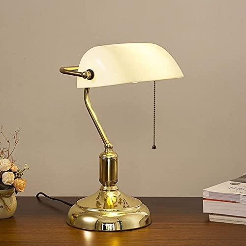SpiceRack Lámpara de Mesa Personalizada, lámpara de Escritorio Vintage, lámpara de banquero Blanca, lámpara de Oficina con Pantalla de Vidrio con Interruptor de Tiro, lámpara de Lectura Anti