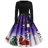 KHJH Trajes De Papá Noel,Disfraces De Navidad para Mujeres Adultas, Árbol De Navidad Púrpura, Muñeco De Nieve, Mangas Largas, Sexy, Vestido De Cosplay De Papá Noel para Disfraces, Fiesta De Cosplay,