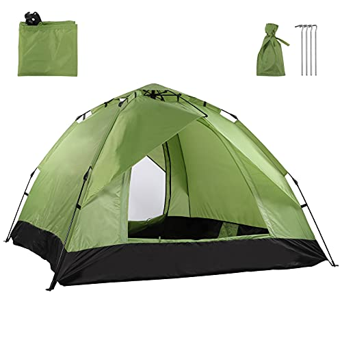 Camping Tent for 3-4 Person, Waterproof Pop Up Dome Tent with Double Door,...