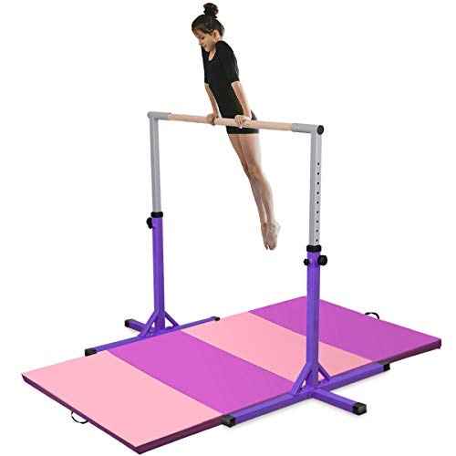 Costzon Junior Training Bar with 4' x 8' Gymnastic Mat, 3' to 5' Height Adjustable Expandable Kip Bar for 1-4 Levels Gymnasts, Horizontal Bar w/Double Locking Mechanism, Ideal for Indoors, Home, Gym