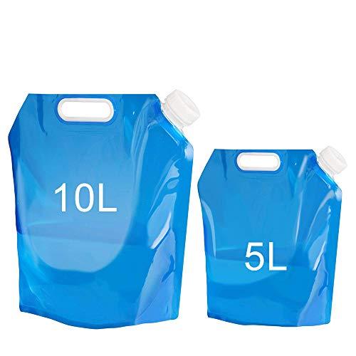 Bidón de agua plegable,Depósito de agua Contenedores de agua, plegable y flexible envases de,plegable, para transportar, ideal para deportes, campamento, senderismo, pícnic, barbacoa, 5 y 10 litros