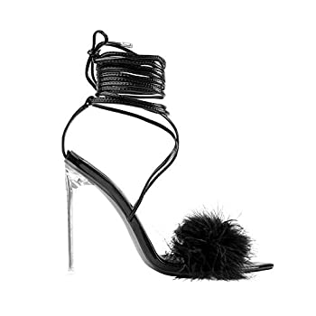 MissHeel Women s Strappy Gladiator Sandals Feather Stiletto Clear Heels Tie Up Ankle High Party Club Dancing Black Size 8