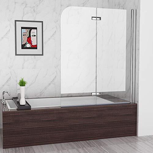 MIQU 120 x 140 cm Badewannen 2 TLG. Faltwand Aufsatz 180° Duschwand Duschabtrennung 6mm Nano Glas DAY12