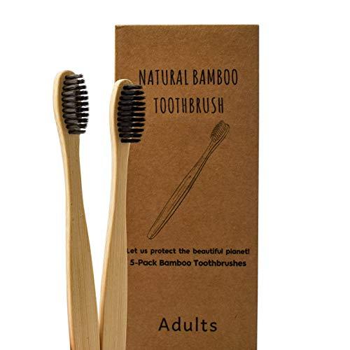 Bambus Zahnbürste Laelr 10er Holzzahnbürste Mittel Zahnbürste aus Holz Zahnbürsten Bamboo Toothbrush 100% BPA freie, Plastikfrei, Vegan, Umweltfreundlich