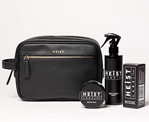 Haarstyling-Set für Herren | Heist Labs | Meersalzspray, Staubpulver & matter Ton | Kulturbeutel aus veganem Leder