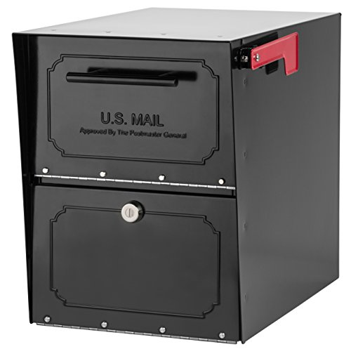 Architectural Mailboxes 6200B-10 Oasis Classic Locking Post Mount Parcel Mailbox with High Security Reinforced Lock,Black,18.00 x 15.00 x 11.50 inches