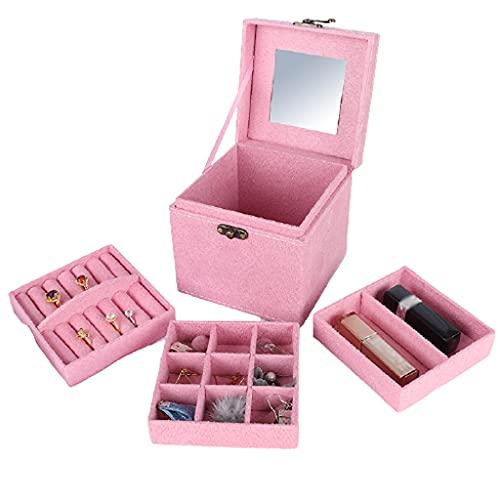WQXD Caja de joyería Retro 3 Capas cajón Caja de joyería para Pendientes Collares Anillos Regalos de cumpleaños Mujeres niña joyería Organizador (Color : Pink, tamaño : 4.7x4.7x4.7 Inch)