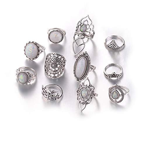 Fliyeong Feueropal Ring Set, Frauen böhmischen Vintage Stack Ringe über Knöchel Ringe Set, alte Silber 1 11PCS kreativ und nützlich