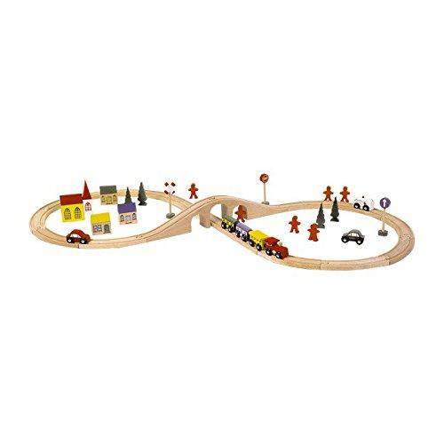 Circuit de train en bois - 46 pièces - nombreux accessoires