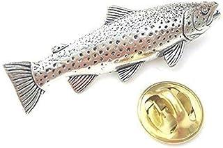 Emblems-Gifts Trota Marrone Pesce Artigianale da Peltro Inglese in The UK Spilla + 59mm Bottone Distintivo + Borsa Regalo