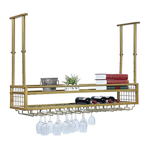 Hanging Wine Rack with Glass Holder and ShelfAdjustable Metal Ceiling Bar Wine Glass Rack2-Layer Industrial Wall Mounted Wine and Glass Rack472in Iron Bottle Holder Wine ShelfGolden
