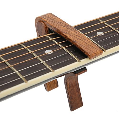 Cejilla de guitarra eléctrica, cejilla de guitarra acústica de aleación de aluminio de gel de sílice para ukelele, bajo, violín, banjo para guitarra acústica/eléctrica(Deep wood grain)