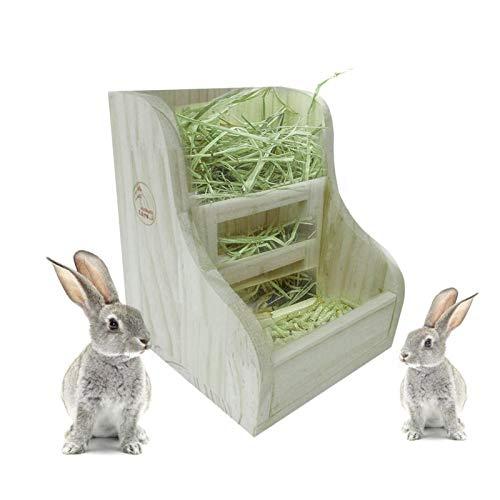 Kaninchengras-Futtertrog, Heuhundkaninchen, Grasspender, Holz, 2-in-1-Holzgrasregal , Futtertabletthalter Für Kleintiere, Kaninchen, Meerschweinchen, Hamster, Chinchillas