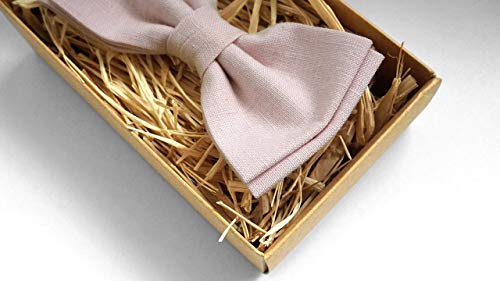 Light Dusty Rose Linen Bow Tie for Wedding   Eco friendly Ties or pre-tied adjustable bow ties perfect Grooms Bowtie - bow ties for men