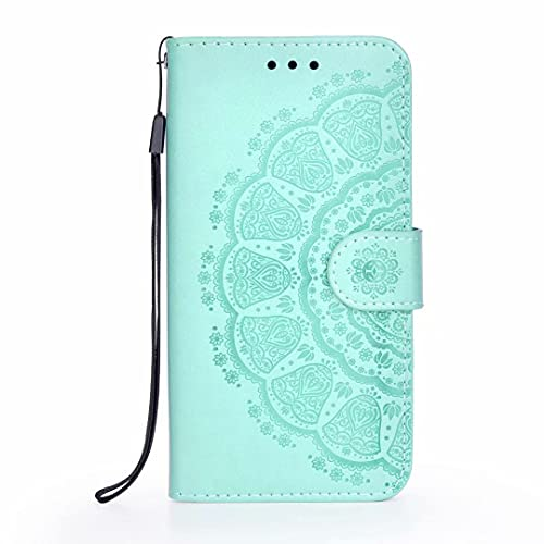 Nokia 8.3 Case, Shockproof PU Leather Flip Wallet Phone Case Embossed Mandala TPU Bumper Protective Cover with Card Holders Magnetic Closure Kickstand for Nokia 8.3 green