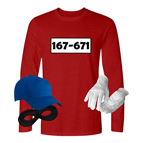 Panzerknacker Longsleeve Deluxe+ Kostüm-Set Wunschnummer Karneval Herren XS-5XL Gangster Verkleidung Fastnacht, Größe:3XL, Logo & Set:Standard-Nr./Set komplett (167-761/Shirt+Cap+Maske+Handschuhe)