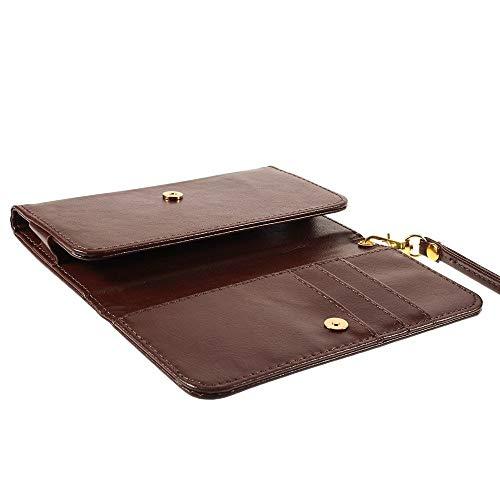 DFVmobile - Etui Tasche Schutzhülle aus Kunstleder Pferden-Leder-Mappen-Kasten mit Kartenfächer für Oppo YOYO - Braun