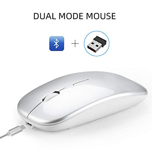 Stylelove Bluetooth 5.0 Dual Mode Mouse Wireless 2.4G Mouse Mute Ultra-thin Mouse for Home Office Laptop