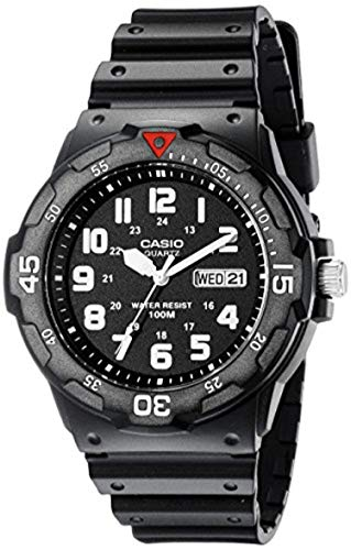 Military Watch Bundle: Casio Men's MRW200H Dive Watch Black & Cap