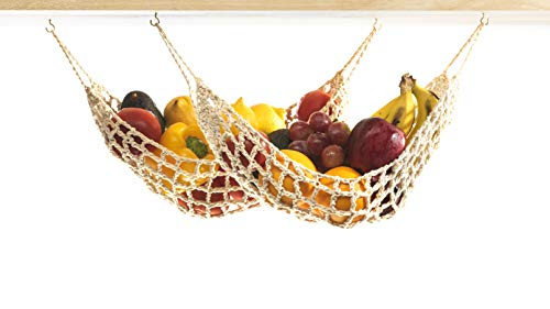 2 Pack Hanging Fruit Hammock - 2 Handwoven Cotton Veggie or Banana Hammocks Under Cabinet + 4 PCS Hooks - Kitchen Storage That Saves Counter Space at Home, Boat, or Rv - Hang on Furniture Handles
