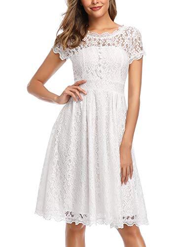 ihot Damen Kleid Brautjungfernkleid Knielang Spitzenkleid Flügelärmeln Cocktailkleid- Gr. XL, Weiß - 5