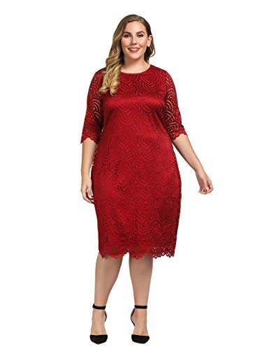 Chicwe Women's Plus Size Stretch Lined Lace Shift Dress - Knee Length Work Casual Party Cocktail Dress Red 3X
