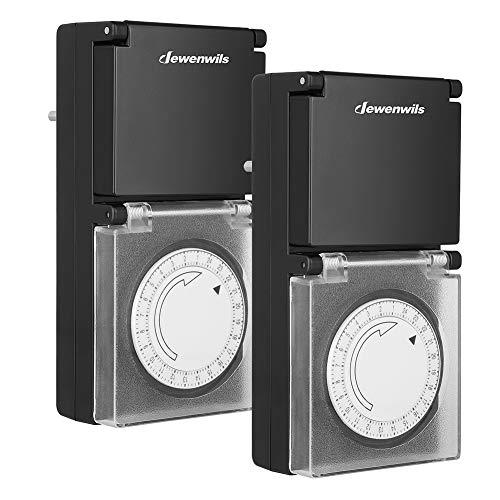 DEWENWILS Zeitschaltuhr Aussenbereich Mechanisch, Analoge Outdoor Timer-Steckdose, IP44 Wasserdicht, Kindersicherung & Schutzabdeckung, 16A/3680W, CE-zertifiziert, 2 Packs