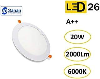 Panel LED Downlight Redondo Plano 20W Blanco De Empotrar 220mm 6000K Luz Blanca Fría [Clase de eficiencia energética A++]