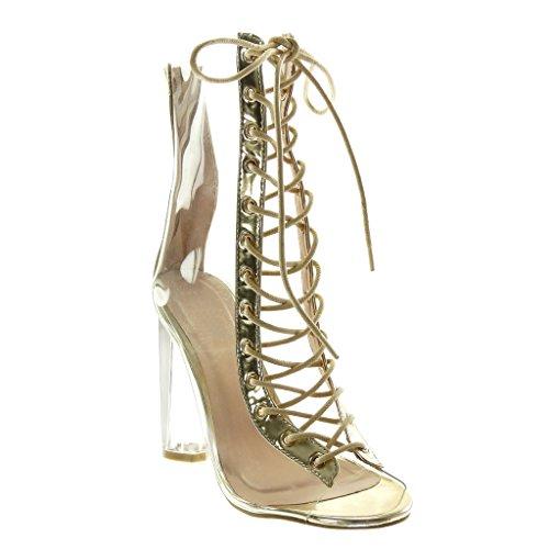 Angkorly - Damen Schuhe Stiefeletten - Peep-Toe - transparent - Spitze Blockabsatz high Heel 11 cm - Gold M6202-2 T 41