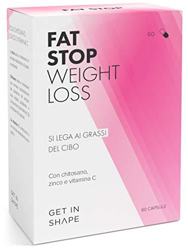 FAT STOP – Capsule blocca-grassi per dimagrire velocemente e perdere peso - Si lega ai grassi del cibo e riduce l'assunzione di calorie (chitosano, vitamina C) – di Get In Shape