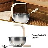 Saunaeimer Edelstahl mit Kelle 4L Klein Saunakübel Set mit Holzgriff Langlebig Sauna Bucket