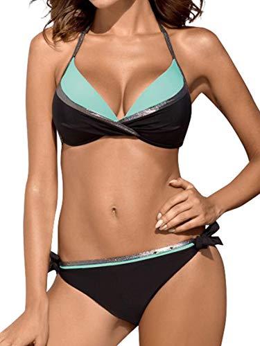 heekpek Brasileños Bikini Push Up Traje de baño de Cintura Baja Bañador Dos Piezas Mujer Conjuntos de Bikinis para Mujer
