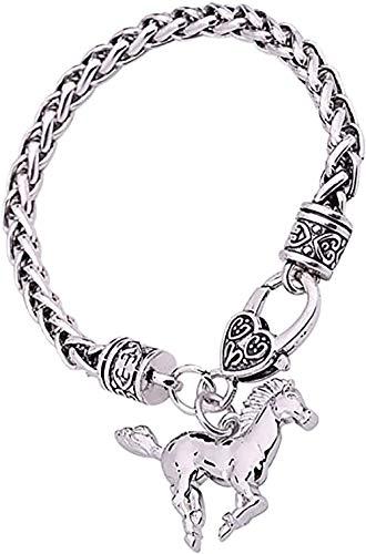 Lemegeton - Pulsera de plata envejecida con forma de corazón grabada, cadena de trigo para mujeres y niñas