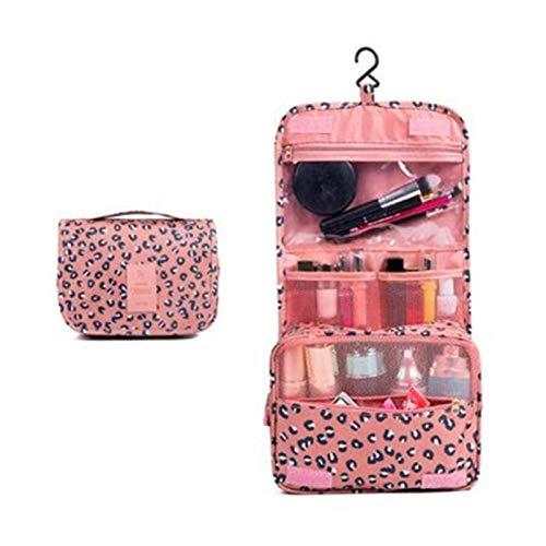 Youpin Bolsa de maquillaje de alta capacidad, bolsa de cosméticos de viaje, bolsa de almacenamiento de cosméticos, kit de viaje para mujer (color: leopardo rosa)