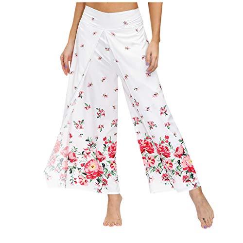 Lenfeshing Pantalones de Yoga Bohemios para Mujer Estilo étnico Pantalones de Pierna Ancha Diseño Floral Pantalones Casuales Holgados para Deportes Fitness Yoga