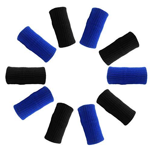 GOGO 60PCS Finger Sleeves, Elastic Finger Bands for Soulagement Pain-Black & Royal Blue