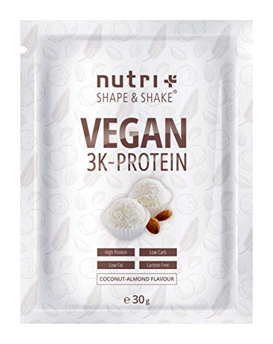 PROTEIN VEGAN Kokosnuss Mandel 30g Probe - 83,8% Eiweiß - Shape & Shake ® 3k Probiergröße - Veganes Eiweißpulver ohne Laktose - Kokos Proteinpulver