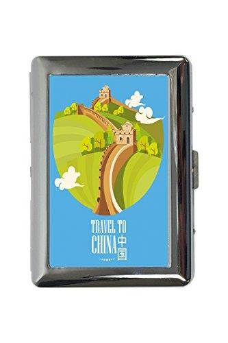 portasigarette in Metallo Vacanza Agenzia Viaggi Cina Stampato