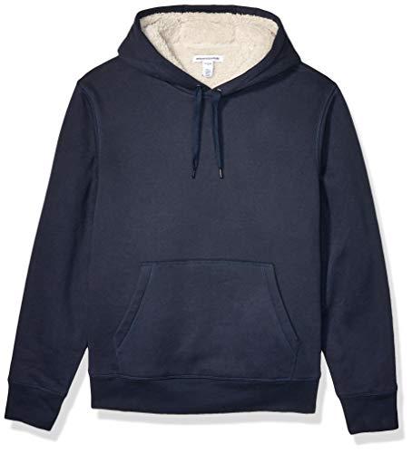 Amazon Essentials Sherpa Lined Pullover Hoodie Sweatshirt Navy, L