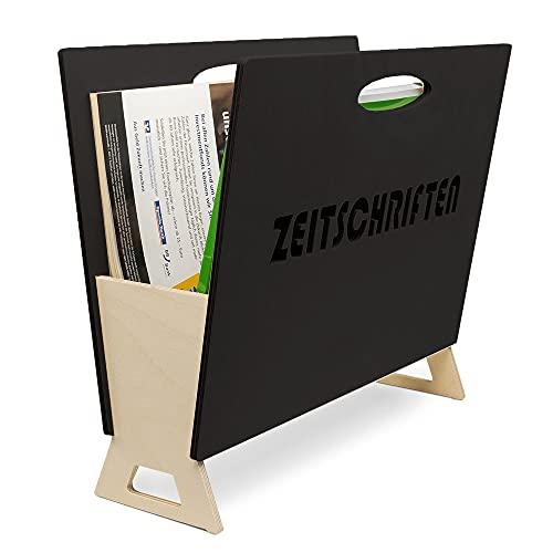 INEXTERIOR Zeitungshalter - moderner Zeitungsständer - Magazinhalter - für Zeitungen, Zeitschriften und Kataloge - aus Birkenholz - Made in Germany